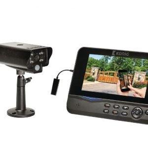 2 4GHz:n digitaalinen langaton valvontajärjestelmä jossa on etäkatselumahdollisuus: 1 kamera 1 tallennin sekä integroitu 7 tuuman LCD-näyttö