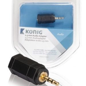 2 5 mm:n audiosovitin 2 5 mm:n urosliitin - 3 5 mm:n naarasliitin 1 kpl harmaa