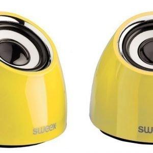 2.0-kaiutinsarja USB-virranotto 2x 3W kannettava keltainen