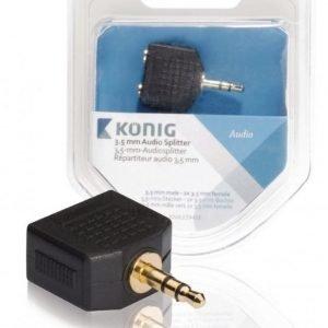 3 5 mm:n audiojakaja 3 5 mm:n urosliitin - 2 x 3 5 mm:n naarasliitin 1 kpl harmaa