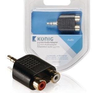 3 5 mm:n audiosovitin 3 5 mm:n urosliitin - 2 x RCA-naarasliitin 1 kpl harmaa