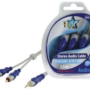 3.5 mm stereo uros - 2x RCA uros johto 1.50 m