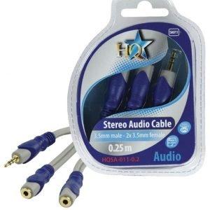 3.5mm stereo uros - 2x 3.5mm stereo naaras johto 0.20 m