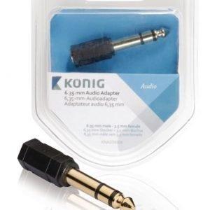 6 35 mm:n audiosovitin 6 35 mm:n urosliitin - 3 5 mm:n naarasliitin 1 kpl harmaa