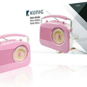 AM/FM-retroradio vaaleanpunainen