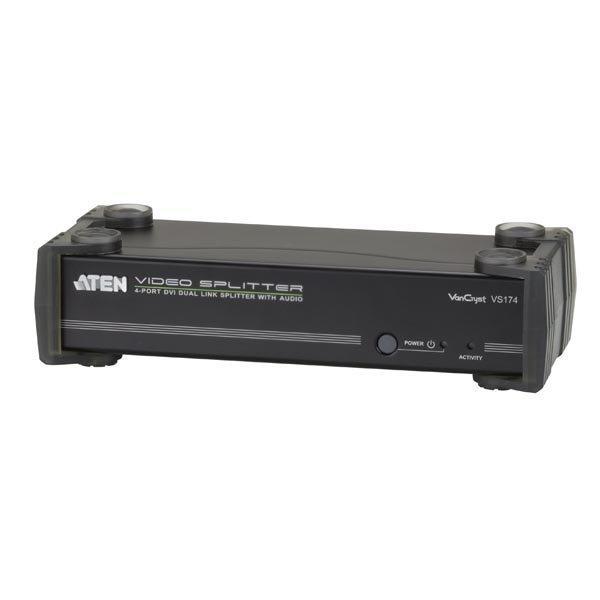ATEN 4-porttinen DVI-jakaja 1-4 DVI-I/D kovaääninen musta