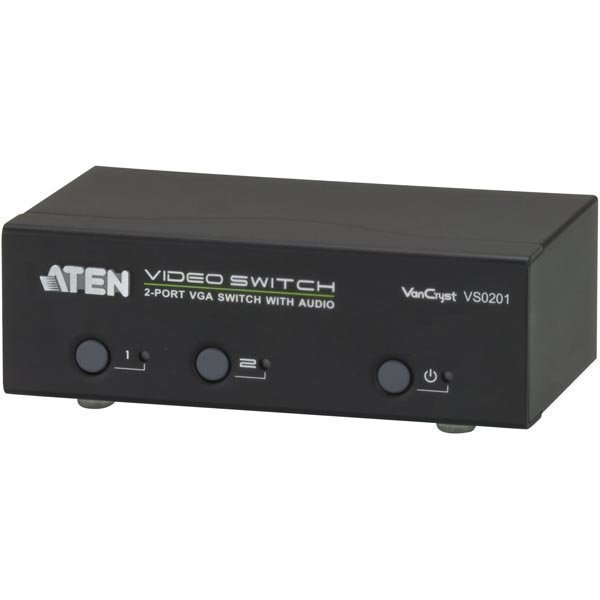 ATEN VGA-Switch 2 konetta 1 näytölle HD-15 na/ur 3 5mm RS232 mu