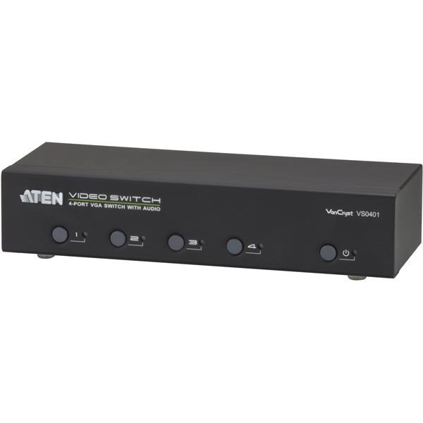 ATEN VGA-Switch 4 konetta 1 näytölle HD-15 na/ur 3 5mm RS232 must