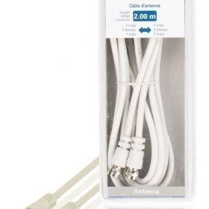 Antennikaapeli F-uros - F-uros 2 00 m valkoinen