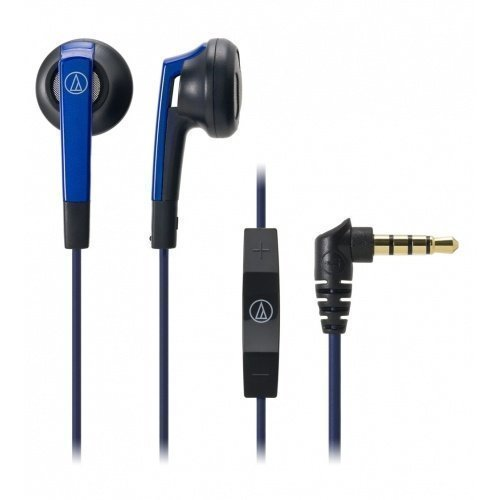 Audio-Technica ATH-C505i Earbuds with Mic3 for iPhone Blue