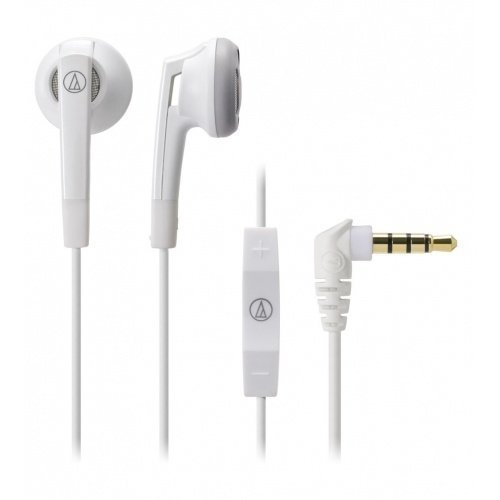 Audio-Technica ATH-C505i Earbuds with Mic3 for iPhone White