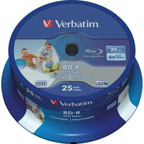 BD-RVerbatim BD-R 6x 25GB 25-pack spindel printable LTH Hard Coat