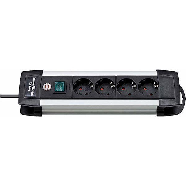 Brennenstuhl Premium Alu-Line 4xCEE 7/4 1xCEE 7/7 1 8m kaapeli