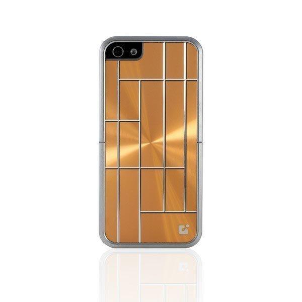 CDN Laminati muovisuojus metallimainen ruutukuvio iPhone 5 kulta