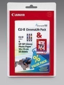 Canon CLI-8 C/M/Y & GP-501 10x15 (50)