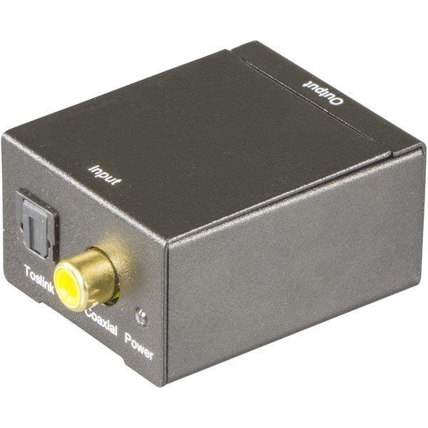 DELTACO äänen muunnin digitaalisesta analogiseen 2xRCA S/PDIF musta