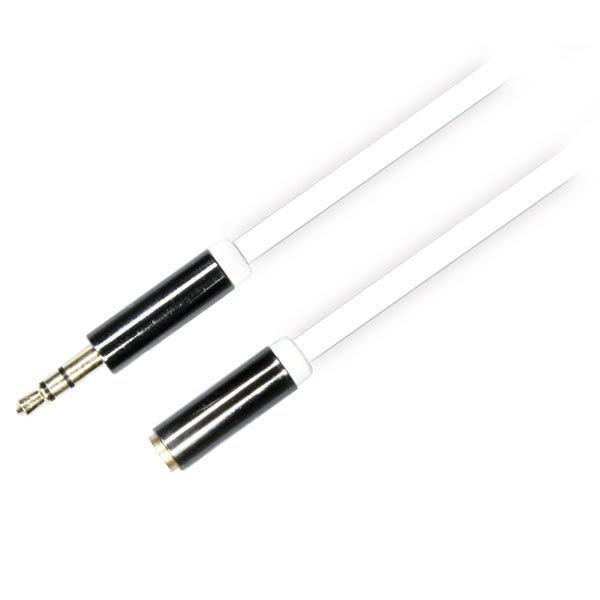 DELTACO äänikaapeli 3 5mm uros - 3 5mm naaras 1m valkoinen