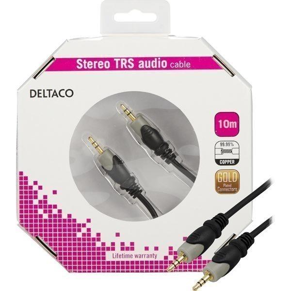 DELTACO äänikaapeli 3.5mm uros-uros kullattu 10m