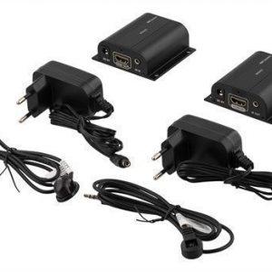 DELTACO Ethernet HDMI jatkaja jossa myös IR 60 m Cat6 kaapelilla 1080p musta