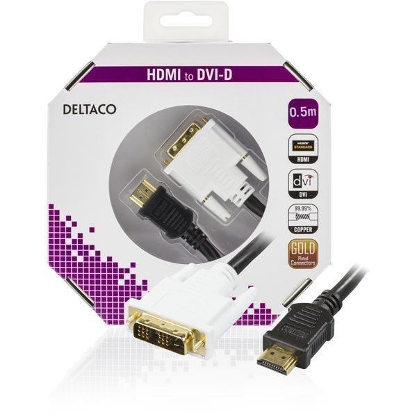 DELTACO HDMI - DVI kaapeli 19-pin-DVI- D Single Link 0 5m musta