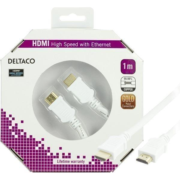 DELTACO HDMI-kaapel v1.4+Ethernet 19-pin ur-ur 1080p valkoinen 1m