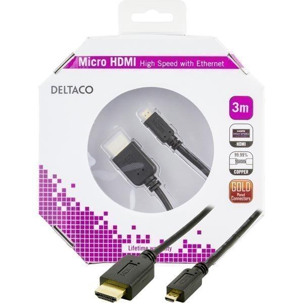 DELTACO HDMI-kaapeli 1.4+E 19-pin ur-Micro 19-pin ur 1080p musta 3m