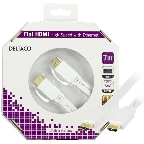 DELTACO HDMI-kaapeli v1.4+Ethernet 19-pin u-u 1080p litteä valk 7m