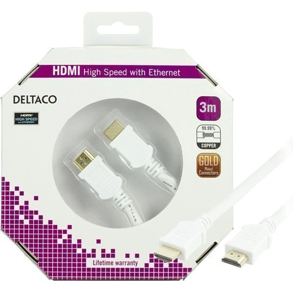DELTACO HDMI-kaapeli v1.4+Ethernet 19-pin ur-ur 1080p valkoinen 3m