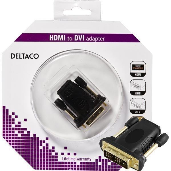 DELTACO HDMI-sovitin HDMI 19-pin naaras - DVI-D urokseen kullattu