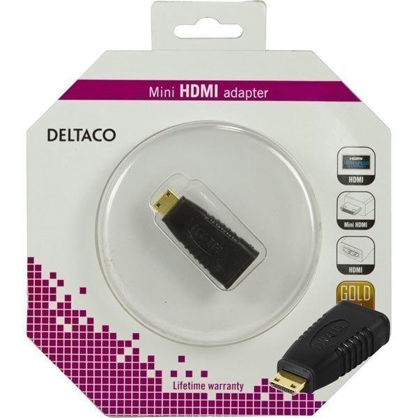 DELTACO HDMI-sovitin mini HDMI ur - HDMI na 19-pin kullatut liittim
