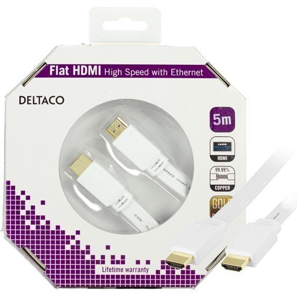 DELTACO HDMI v1.4 kaapeli 4K Ethernet 3D paluu litteä valk 5m