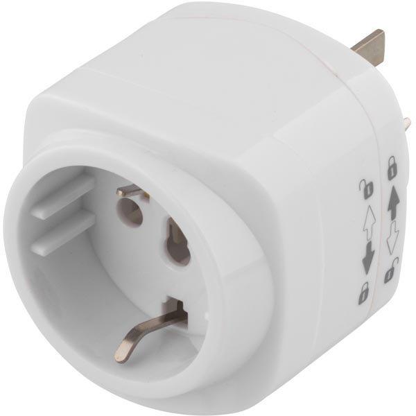 DELTACO Matka-adapteri EU - CN/AUS pistokkeisiin maad. valkoinen