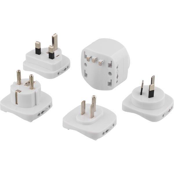 DELTACO Matka-adapteri EU -UK/US/AUS/CN pistokk. maad. valkoinen