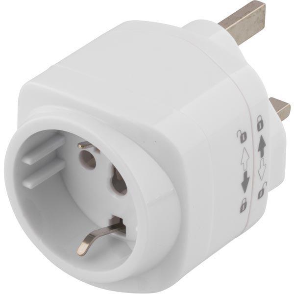 DELTACO Matka-adapteri EU/US- UK liittämiseen maad. valkoinen