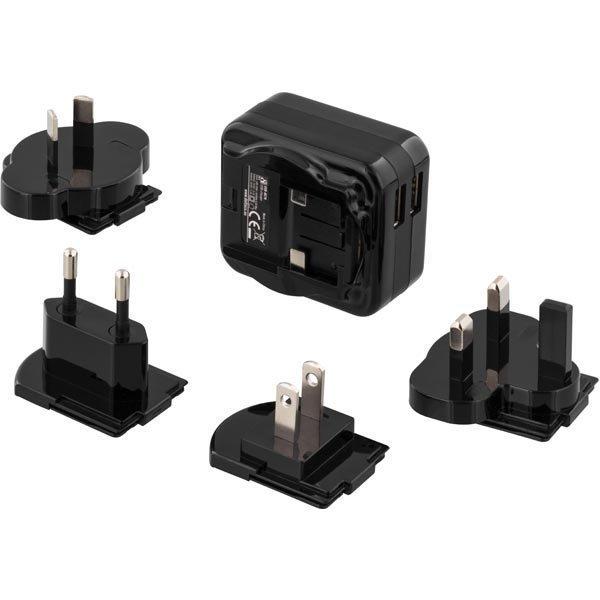 DELTACO Matkalaturi 100-240V - 5V USB 2 1A 2xUSB-porttia mu