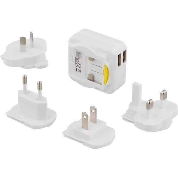 DELTACO Matkalaturi 100-240V till 5V USB 2 1A 2xUSB-porttia val