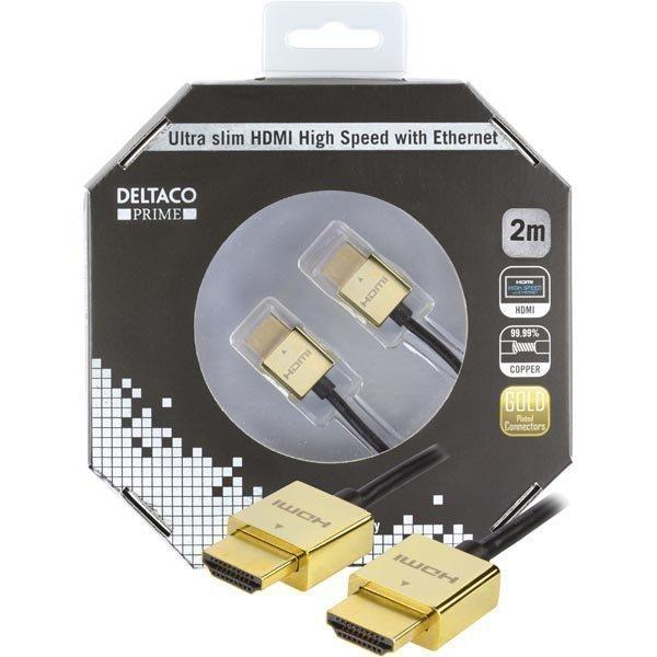DELTACO PRIME ultraohut HDMI-kaapeli kullatut sinkki-liitokset 2m
