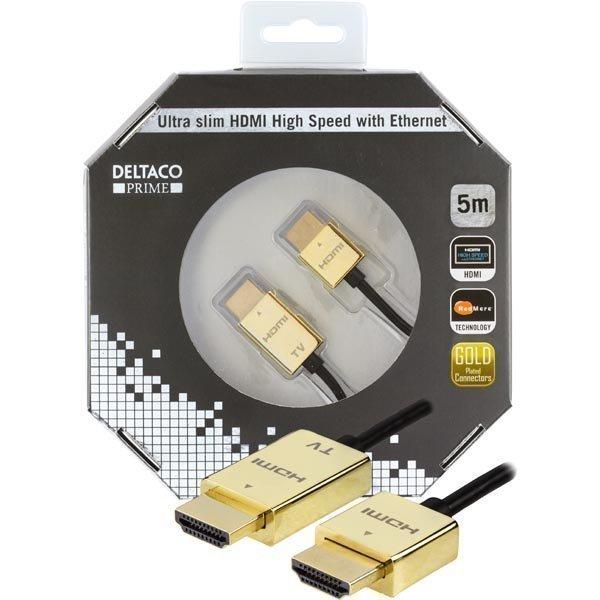 DELTACO PRIME ultraohut HDMI-kaapeli kullatut sinkki-liitokset 5m