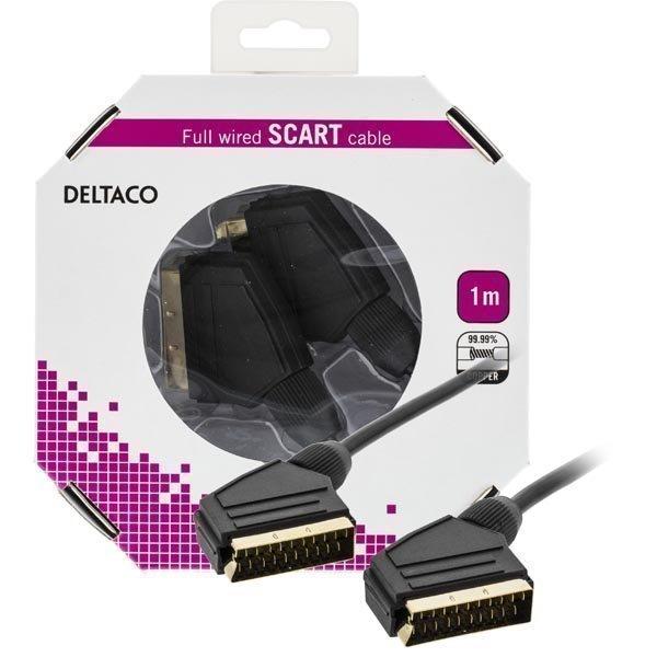 DELTACO SCART-kaapeli kaikki kytketty u - u 1m blisterpakkaus