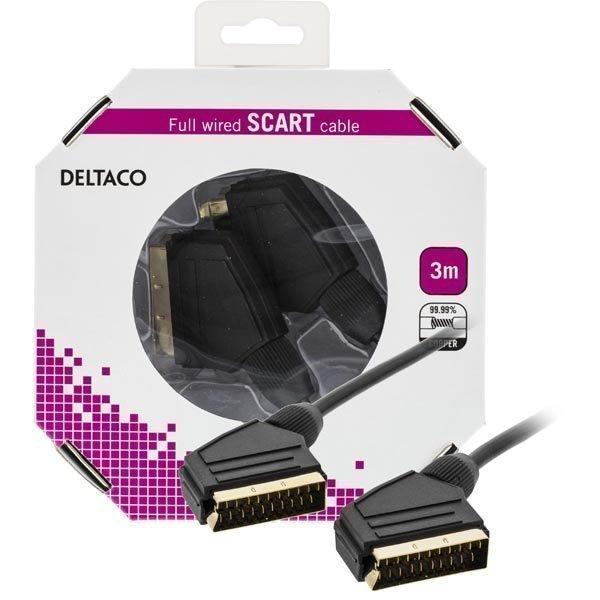 DELTACO SCART-kaapeli kaikki kytketty u - u 3m blisterpakkaus