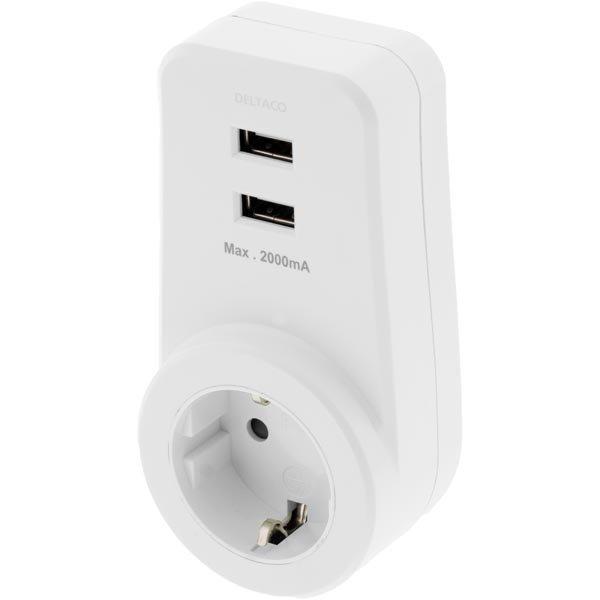 DELTACO USB-latausasema 2A 2xUSB 1x Schuko valkoinen