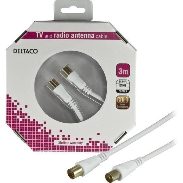 DELTACO antennikaapeli 3C-2V 75 Ohm kullattu liittimet 3m valkoinen