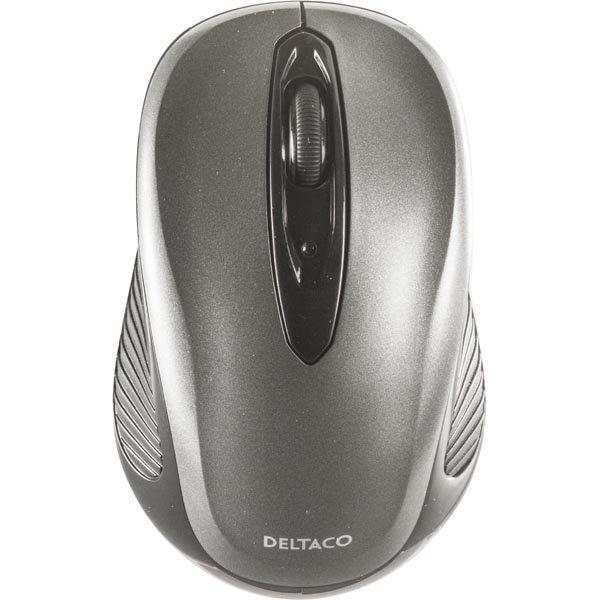 DELTACO langaton optinen hiiri 2 painiketta rulla USB musta/harmaa