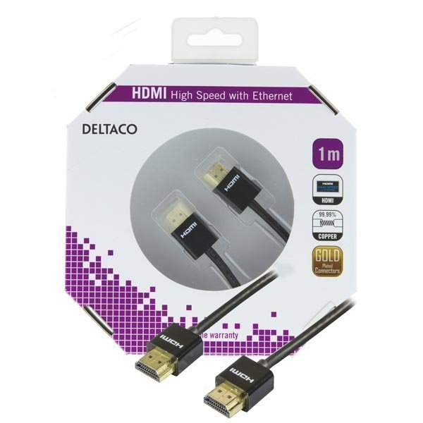 DELTACO ohut HDMI-kaapeli 1m musta blister
