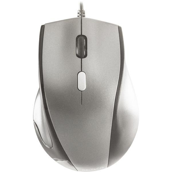 DELTACO optinen hiiri 3 painiketta rulla USB mu/vaal.harmaa