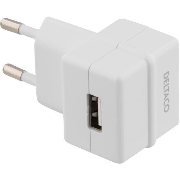DELTACO virtasovitin 230V - 5V USB Tyyppi A naaras 1A valk
