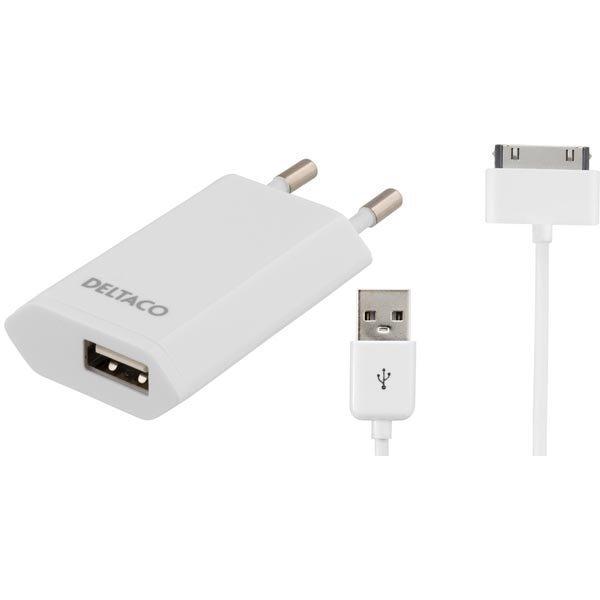 DELTACO virtasovitin 230V AC - 5V USB 1A 1m USB-synkr valk.