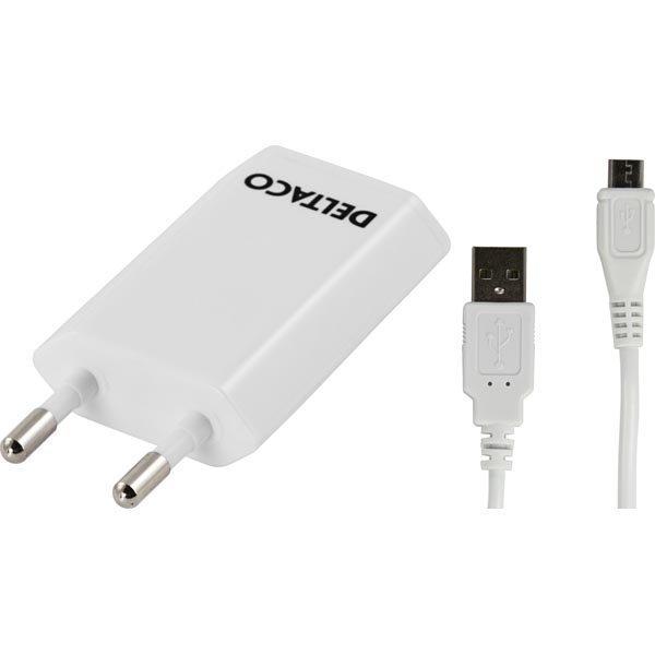 DELTACO virtasovitin 230V AC - 5V USB 1A jossa 2m USB micro B valk.