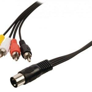 DIN-äänisovitinkaapeli 5-napainen DIN uros - 4x RCA uros 1 00 m musta