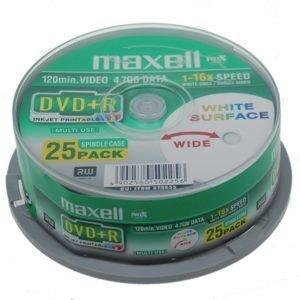 DVD+R 4.7 Gb tulostettava 8x 25 osainen spindle